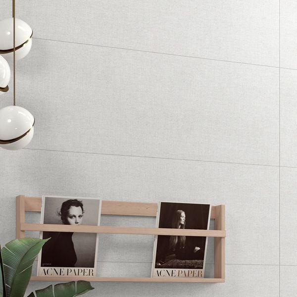 Fibra Pale Glazed White Bodied Ceramic Wall Tile 400 x 1200mm