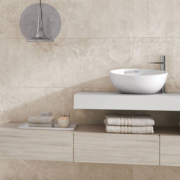 Lea Crema Glazed White Bodied Ceramic Wall Tile 400 x 1200mm