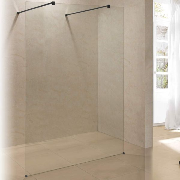Freestanding Shower Screen Black With Nanotech 1500 x 2000mm