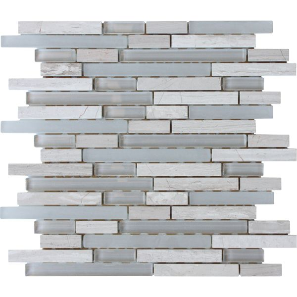 Misty Grey Blend Natural Stone And Glass Mosaic 305 x 305mm