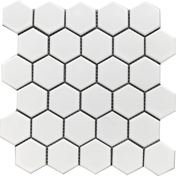 Hexagonal White Matt Porcelain Mosaic 285 x 270mm