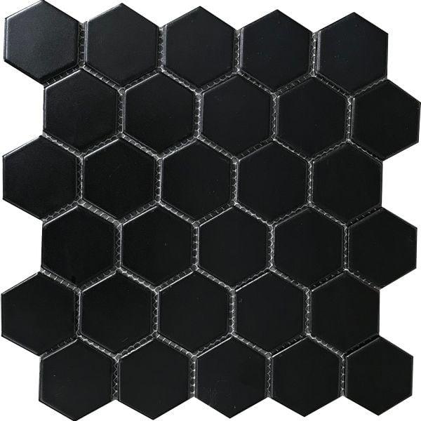 Hexagonal Black Matt Porcelain Mosaic 285 x 270mm