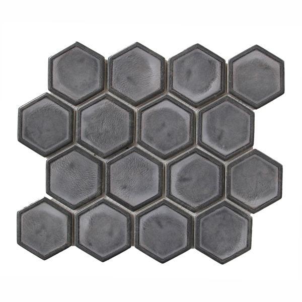 Gemini Double Glazed Dark Grey Recycled Glass Mosaic 258 x 300mm