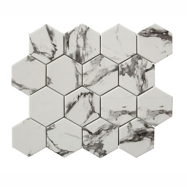 Carrara Hexagonal Inkjet Recycled Glass Mosaic 259 x 298mm