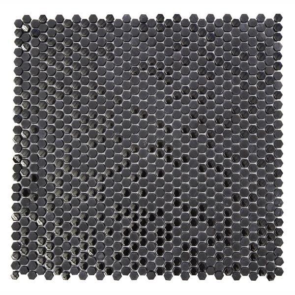Black Honeycomb Recycled Glass Mosaic 301x301mm