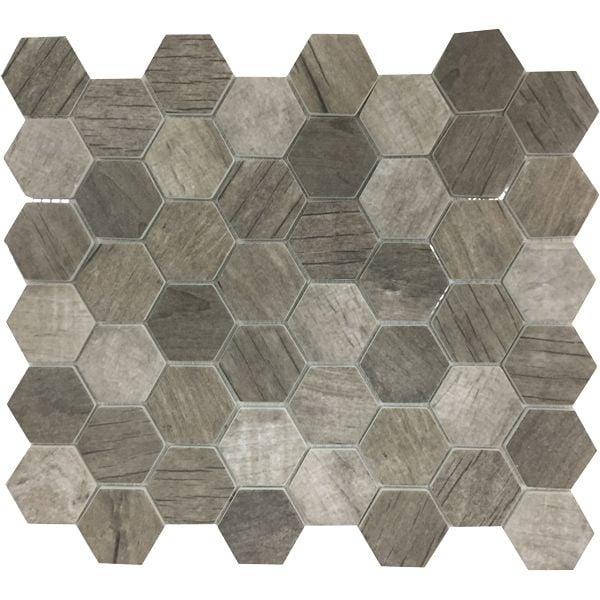 Ashwood Hexagonal Inkjet Enviro-Glass Mosaic Sheet 280 x 324mm