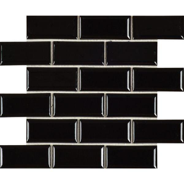 Black Glazed Porcelain Bevelled Subway Mosaic Sheet 288 x 294mm