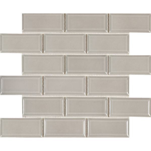 Latte Glazed Porcelain Bevelled Subway Mosaic Sheet 288 x 294mm