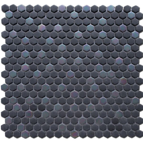 Vision Graphite and Iridescent Glass Mosaic Sheet 288 x 293mm