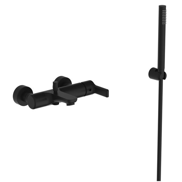 Tivoli Potenza Matt Black Wall Mounted Bath Mixer Including Hand Shower