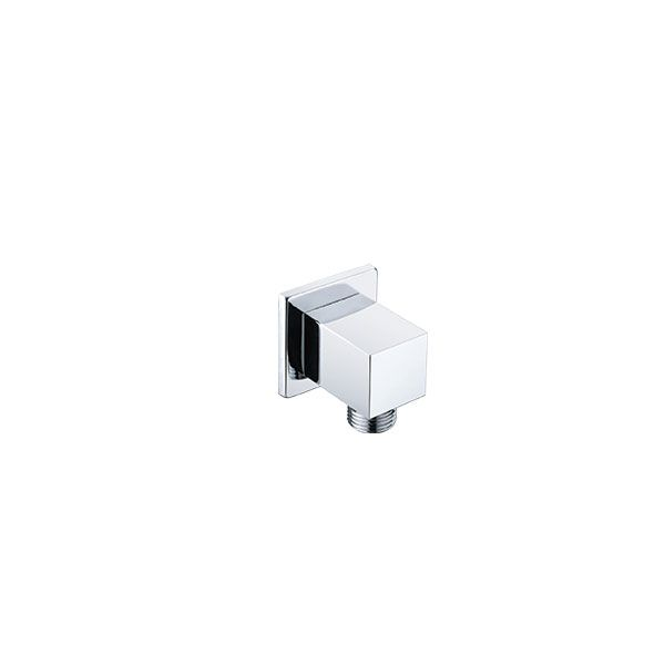 Square Chrome Wall Outlet With Male Connection 15mm