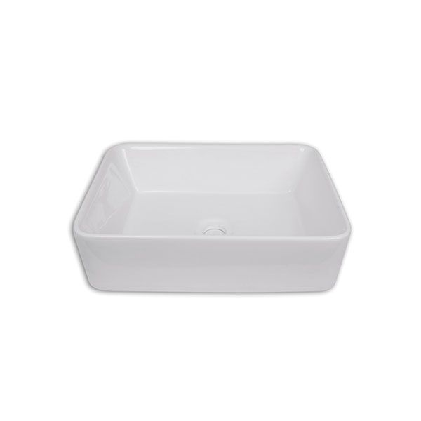 Amelia White Rectangular Counter Top Basin Without Tap Hole 485 x 370 x 140mm