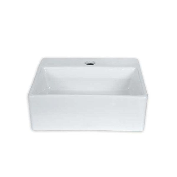 Livorno White Rectangular Counter Top Basin With Tap Hole 335 x 290 x 110mm