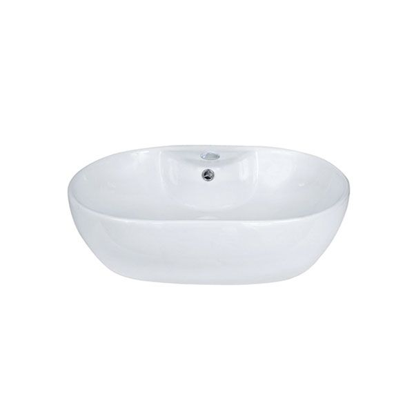 Udine White Oval Counter Top Basin With Tap Hole 590 x 410 x 150mm