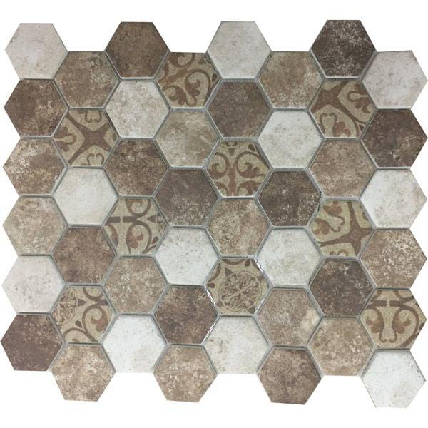 Moroccan Hexagonal Inkjet Enviro-Glass Mosaic Sheet 280 x 324mm