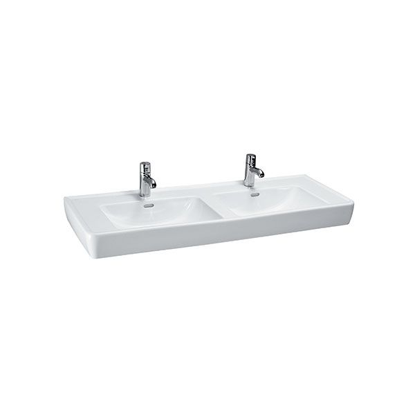 Laufen Pro White Double Wall Hung Basin With Tap Holes 1300 x 480 x 115mm