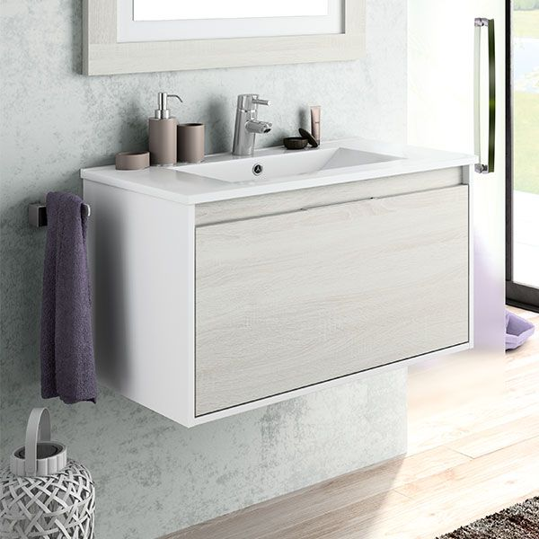 Valencia White and Hibernian Wall Hung Vanity, Basin and Mirror 800 x 450 x 450mm