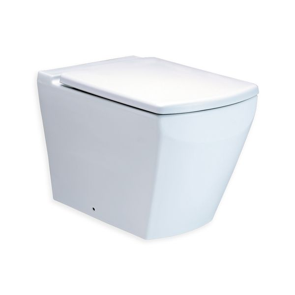 Cotto Tetragon White Floor Standing Toilet and Soft Close Seat