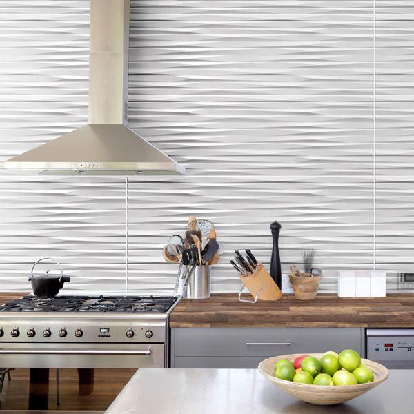 Origami Satin White Glazed Ceramic Wall Decor Tile 265 x 800mm